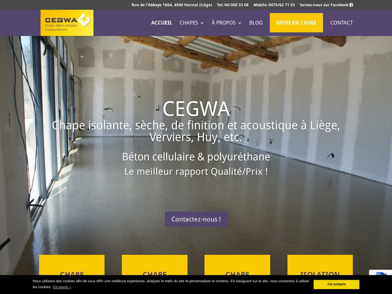 Cegwa.be : pose de chapes isolantes et de finition à Liège, un service de qualité