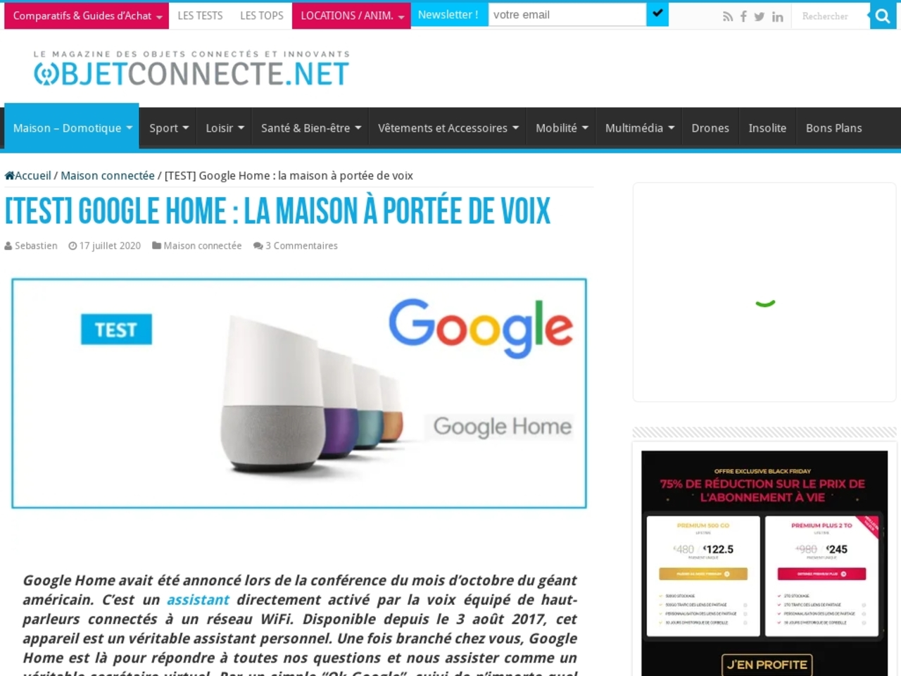 OBJETCONNECTE.NET, guide et test sur le Google Home