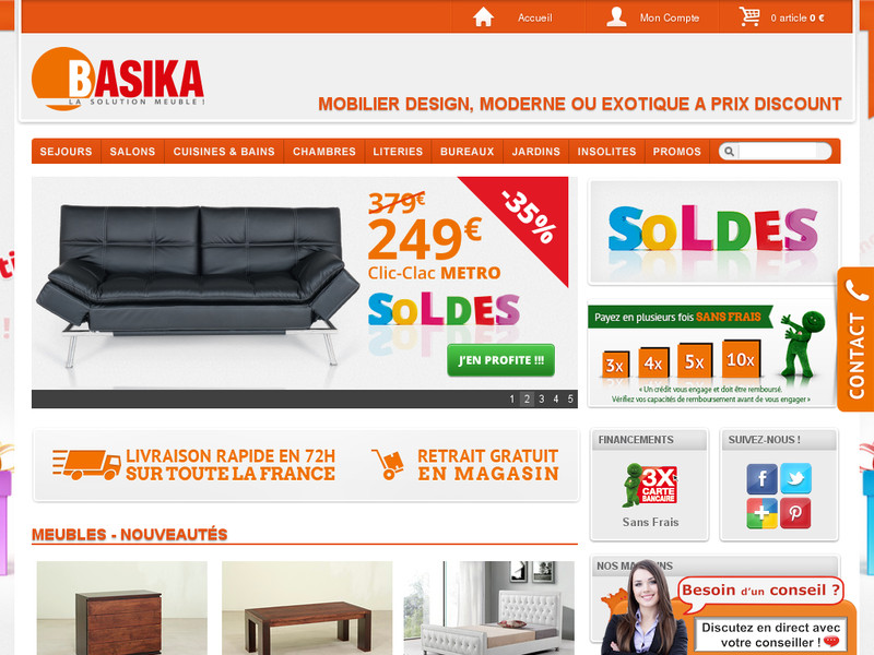 basika magasin de meubles discount. Black Bedroom Furniture Sets. Home Design Ideas