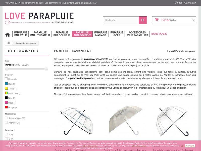 love parapluie site internet pour l 39 achat de parapluies. Black Bedroom Furniture Sets. Home Design Ideas