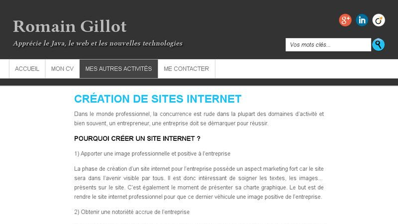 Romain Gillot et la création de sites internet