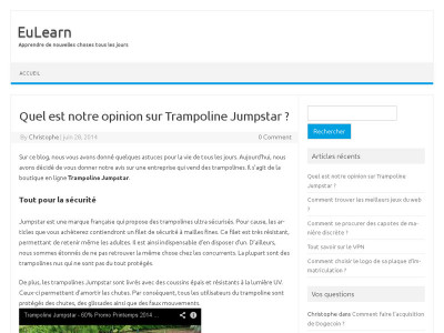 Eulearn donne son opinion sur Trampoline Jumpstar