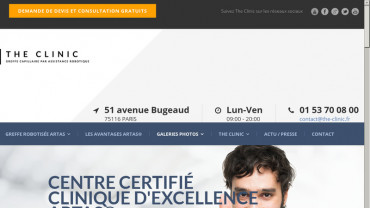 Page d'accueil du site : The Clinic