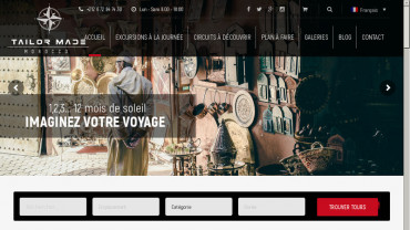 Page d'accueil du site : Morocco Tailor Made Travel