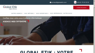 Page d'accueil du site : Global Etik