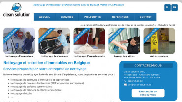 Page d'accueil du site : Clean Solution