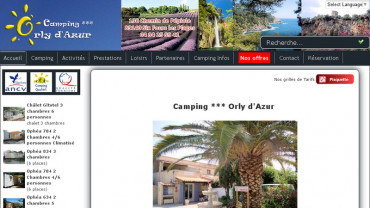 Page d'accueil du site : Camping Orly d'Azur