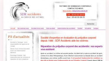 Page d'accueil du site : SDR Accidents
