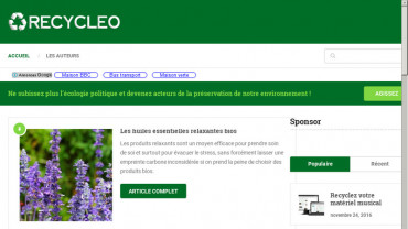 Page d'accueil du site : Recycleo