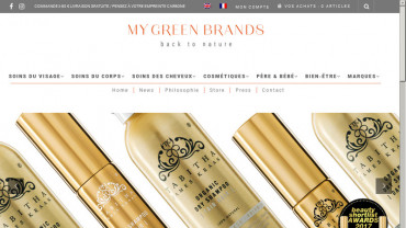 Page d'accueil du site : My Green Brands