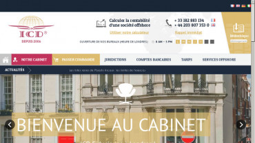 Page d'accueil du site : ICD Fiduciaries