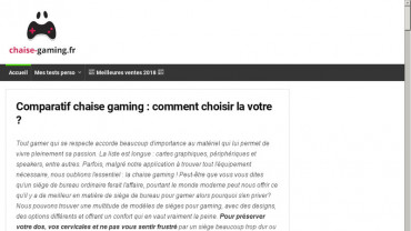 Page d'accueil du site : Chaise Gaming