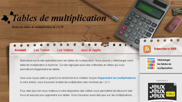 Page d'accueil du site : La table de multiplication