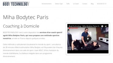 Page d'accueil du site : Body technology