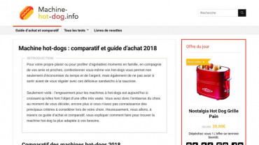 Page d'accueil du site : Machine hot dog