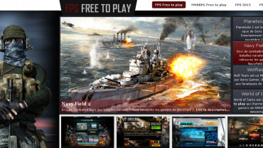 Page d'accueil du site : Fps free to play