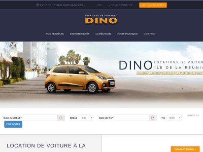 Page d'accueil du site : Dino Locations
