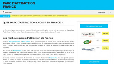 Page d'accueil du site : Parc d'attraction en France