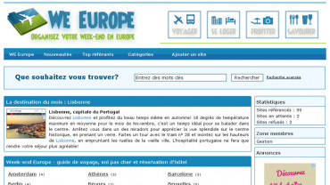 Page d'accueil du site : Week-end Europe
