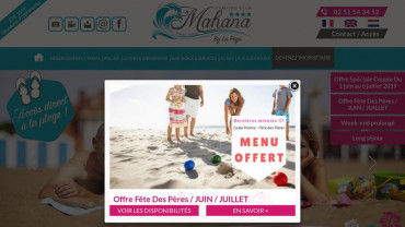 Page d'accueil du site : camping-mahana