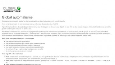 Page d'accueil du site : Global Automatisme
