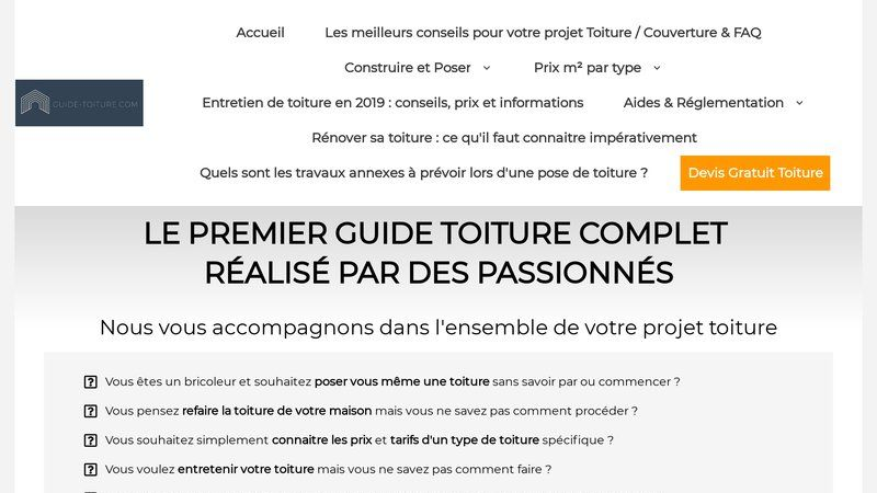 Guide des toitures