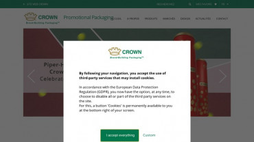 Page d'accueil du site : CROWN Promotional Packaging