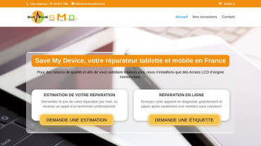 Page d'accueil du site : Save My Device