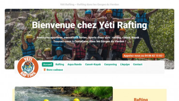Page d'accueil du site : Yeti Rafting