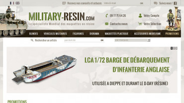 Page d'accueil du site : Military Resin
