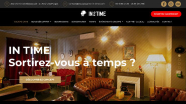 Page d'accueil du site : Escape game in time