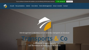 Page d'accueil du site : Transports and co