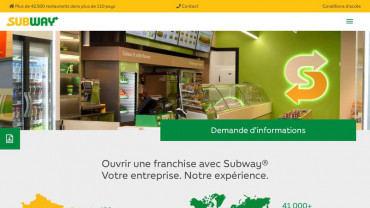 Page d'accueil du site : Subway Franchise