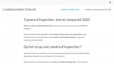 Page d'accueil du site : Camera inspection