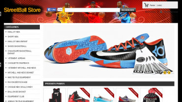 Page d'accueil du site : Streetball Store