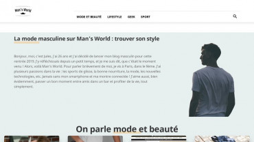 Page d'accueil du site : Man's World