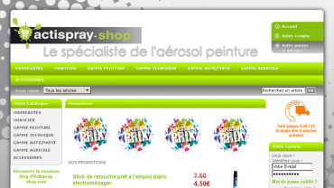 Page d'accueil du site : Actispray Shop