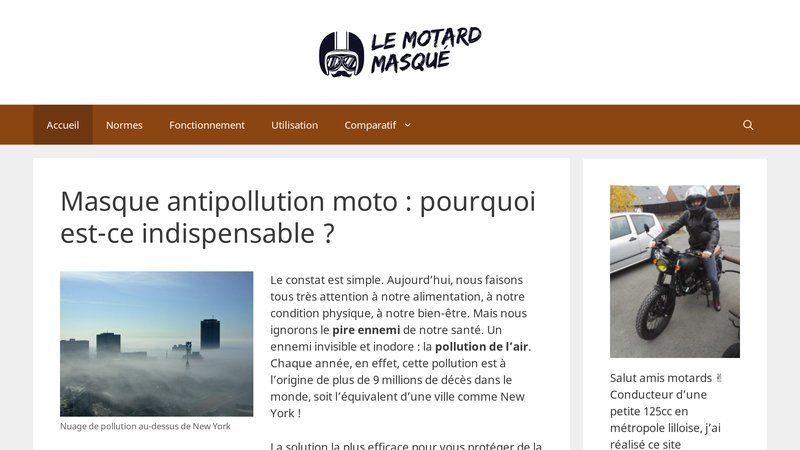 Masque anti pollution moto