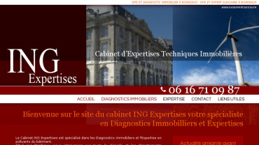 Page d'accueil du site : ING Expertises 33