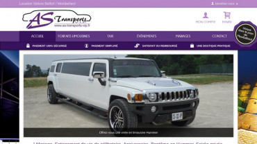 Page d'accueil du site : AS Transports VIP
