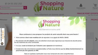 Page d'accueil du site : Shopping Nature