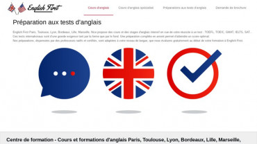 Page d'accueil du site : English First