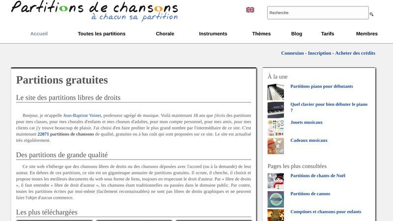 Partitions de chansons