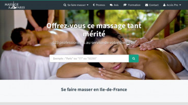 Page d'accueil du site : Massages à Paris