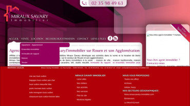 Page d'accueil du site : Miraux Savary Immobilier