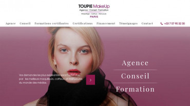 Page d'accueil du site : Toupie Make Up