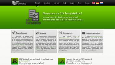 Page d'accueil du site : SFX Translated