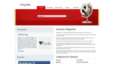 Page d'accueil du site : Mega sites