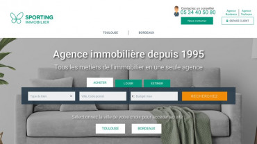Page d'accueil du site : Sporting immobilier