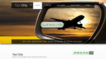 Page d'accueil du site : Taxi Orly